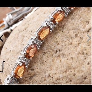 Jewelry - Orange sapphire & zircon Tennis Bracelet. Silver